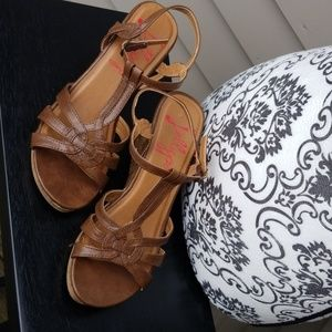 Jellypop Brown Wedged Sandals